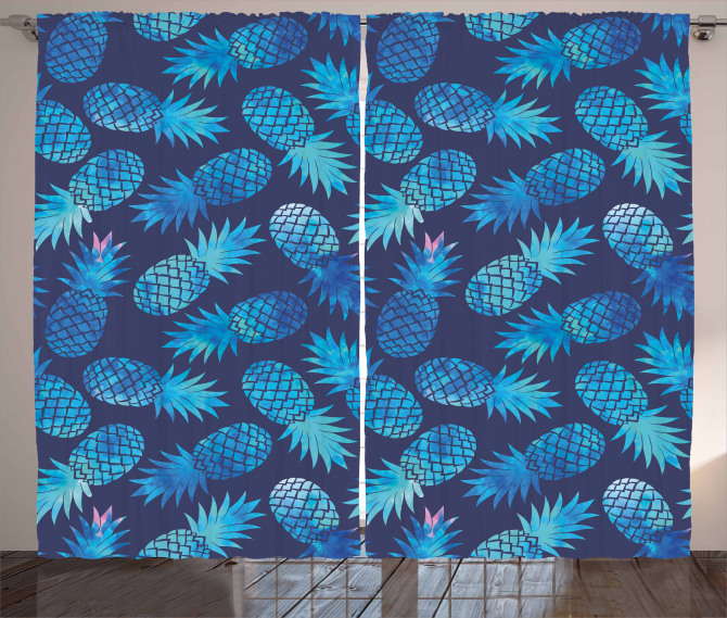 Exotic Pineapple Figures Curtain