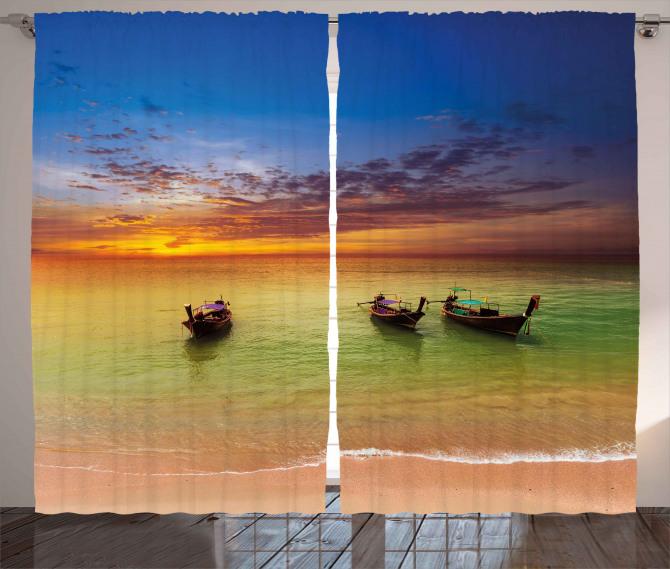 Thailand Boat in Ocean Curtain