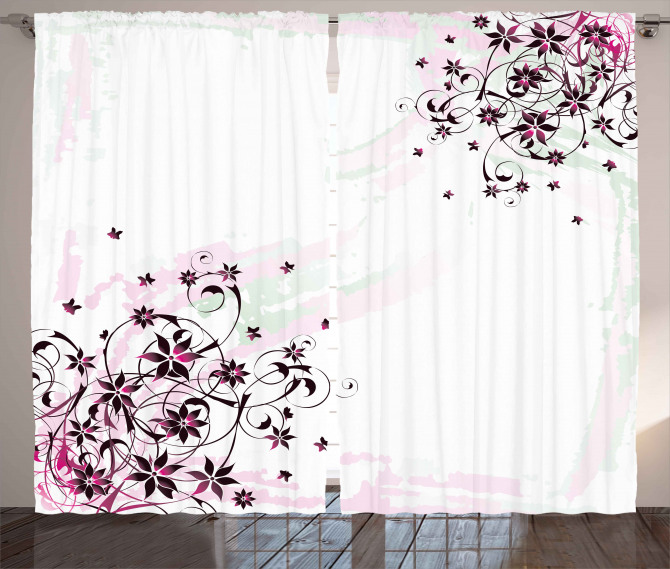 Grunge Flower Motif Leaf Curtain
