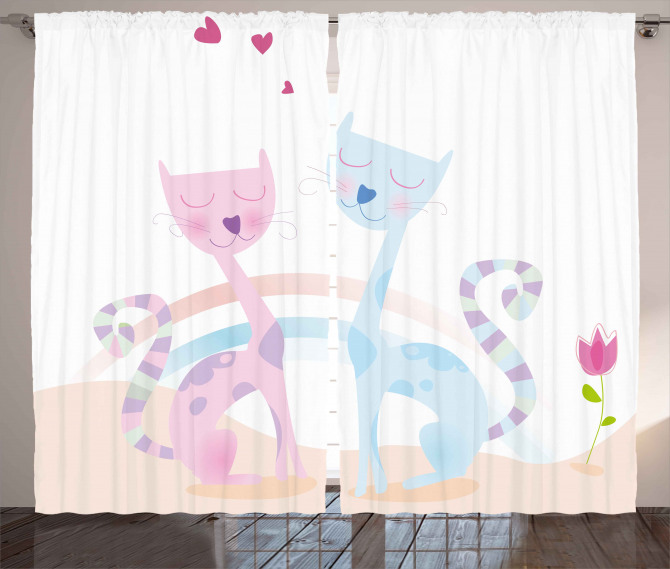 Cat Love Tulip Hearts Curtain