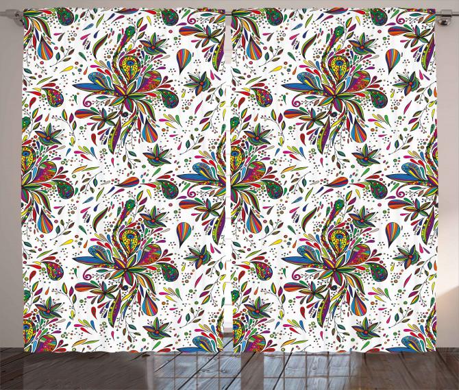 Ethnic Flora Pattern Curtain