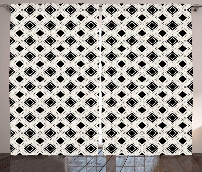 Siyah Beyaz Karolar Fon Perde Dekoratif