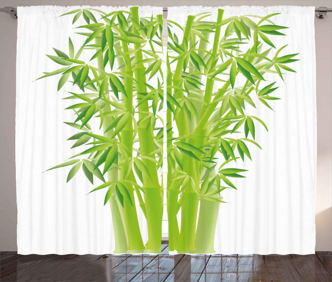 Bamboo Stems with Leaves Curtain