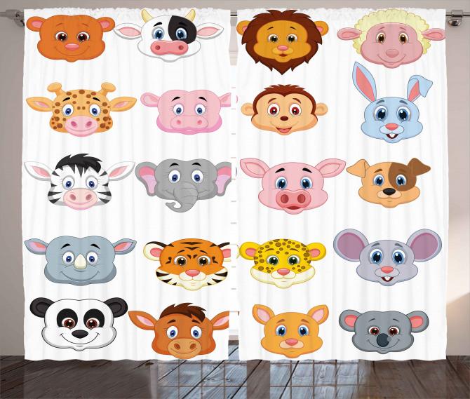 Farm Safari Animals Kid Curtain