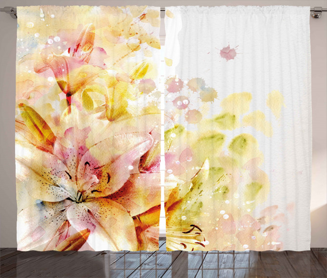 Lilies Flowers Buds Curtain
