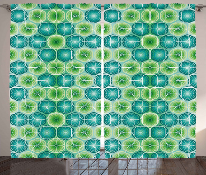 Vector Pattern Flowers Curtain