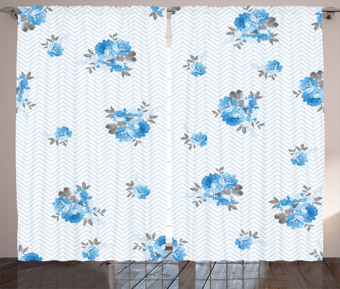 Blue Color Romantic Flower Curtain