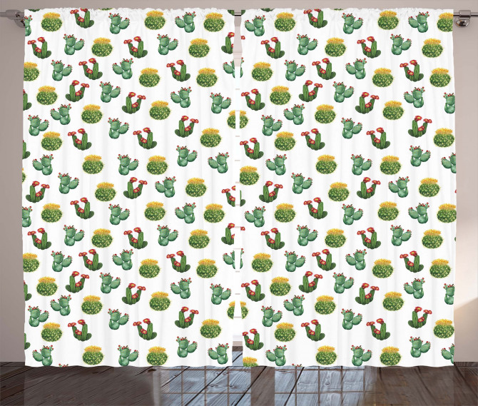 Cactus and Suculent Print Curtain