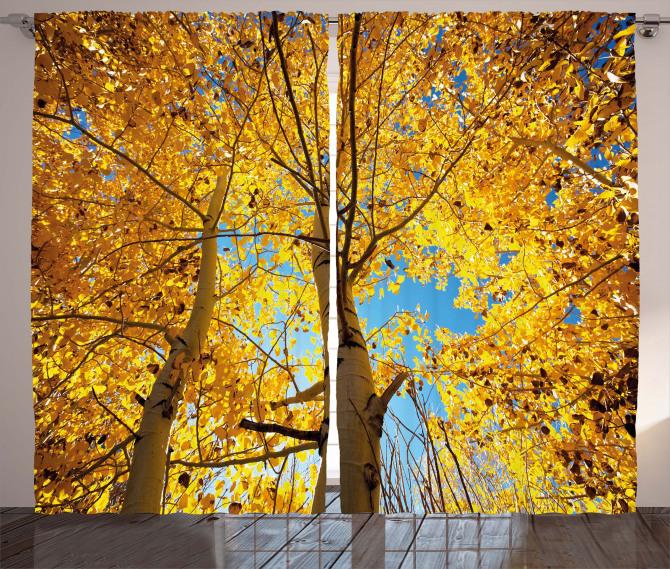 Autumn Trees Leaf Forest Curtain