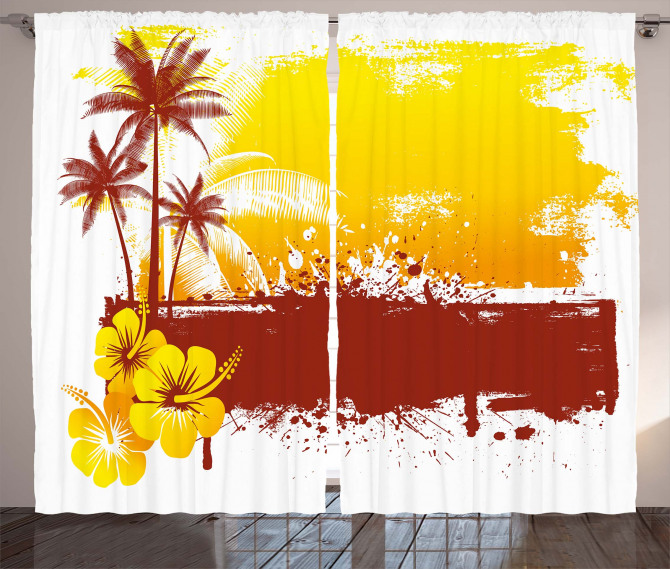 Palm Trees Sealife Ocean Curtain