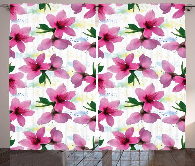 Pembe Kiraz Çiçeği Desenli Fon Perde Çeyizlik Şık