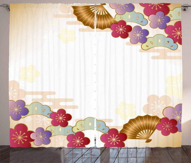 Çiçek Desenli Fon Perde Bej Şık Tasarım Bordo