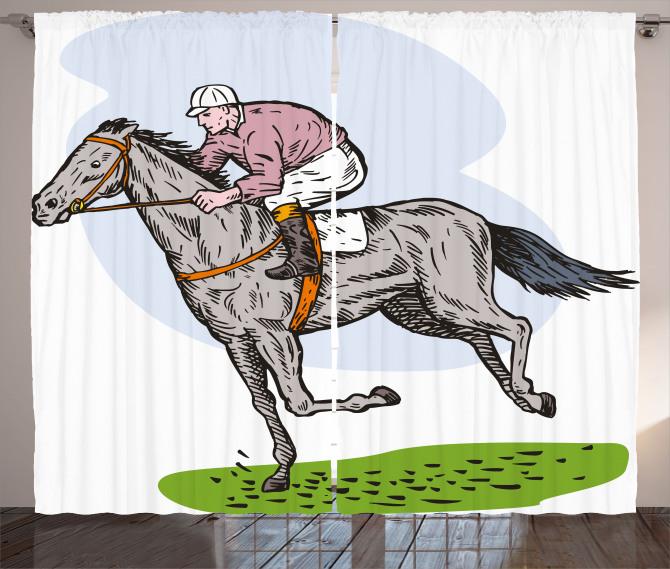 At Yarışı Desenli Fon Perde Beyaz Fonlu Trend