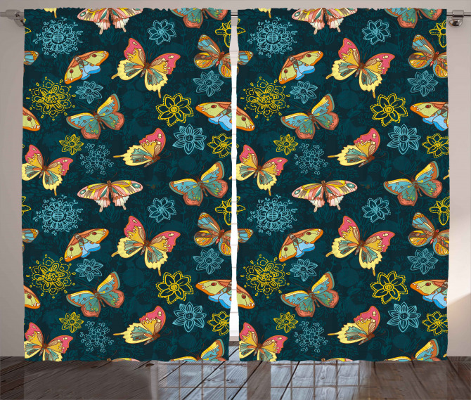 Butterflies and Flowers Curtain