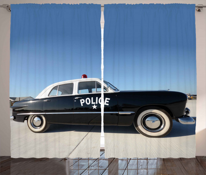Old Police Car Digital Curtain