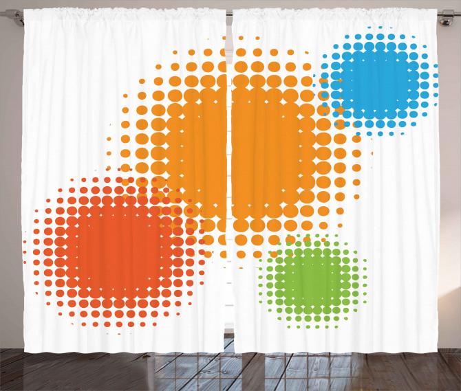 Colorful Half Tone Circles Curtain