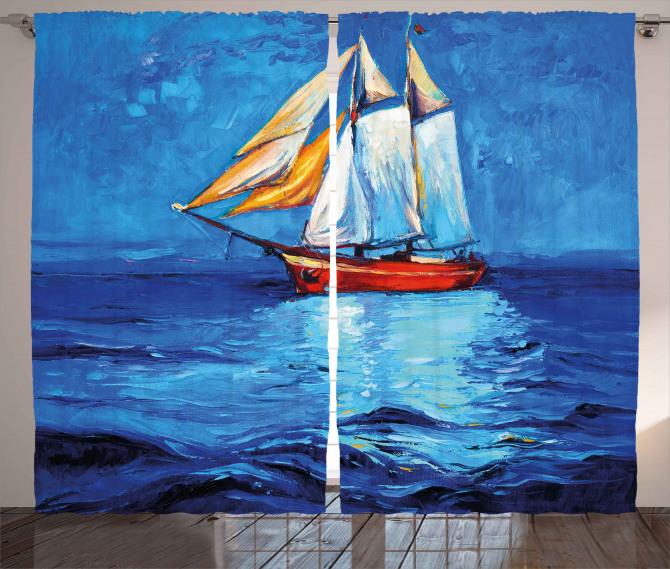 Denizdeki Yelkenli Gemi Fon Perde Yagli Boya Mavi