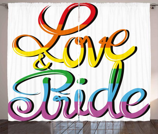Love Text Rainbow Colors Curtain