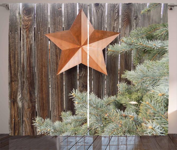 Star on Wood Curtain