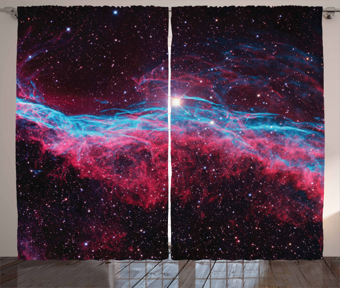 Outer Space Stars Galaxy Curtain