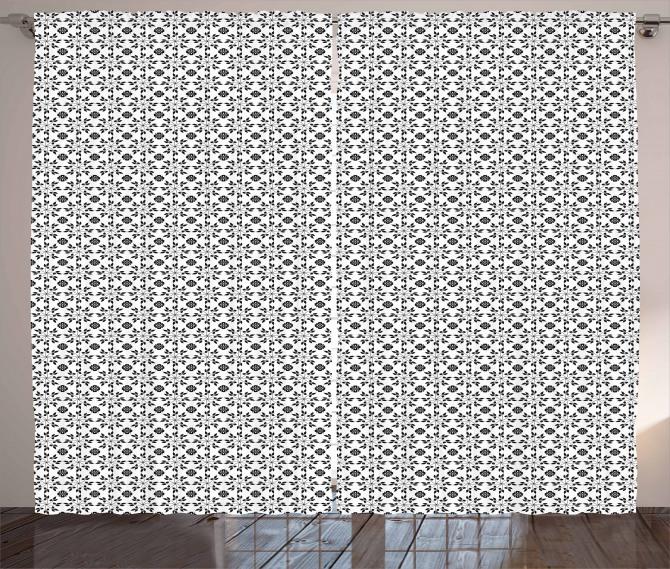 Monochrome Foliage Curtain