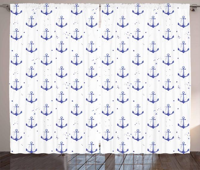 Aquarelle Marine Symbols Curtain