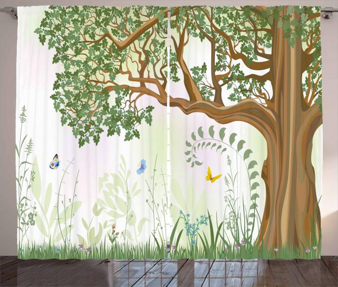Yeşil Ağaç ve Kelebekler Fon Perde Doğa Dekoratif