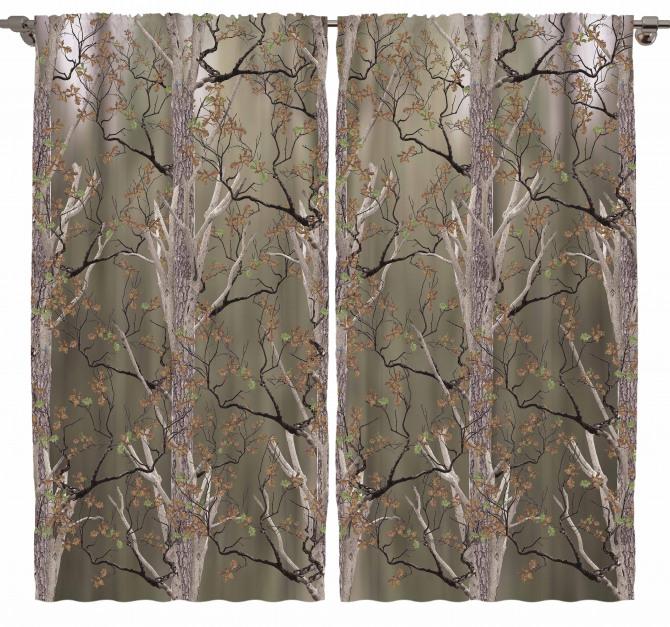 Kahverengi Ağaç Desenli Fon Perde Yaprak Şık
