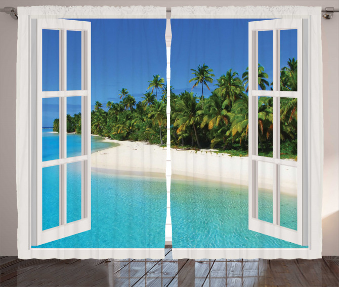Paradise Island Palm Tree Curtain