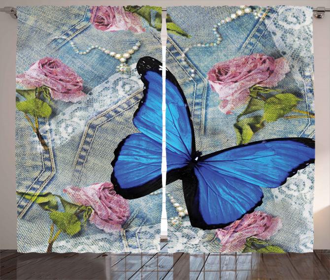 Kelebek ve Gül Desenli Fon Perde Kot Kumaşı Şık