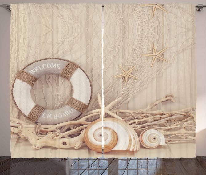 Deniz Kabuğu Desenli Fon Perde Can Simidi Sepya