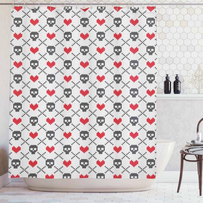 Kırmızı Kalp Siyah Kuru Kafa Desenli Duş Perdesi