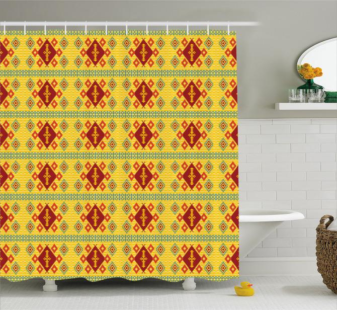 Sarı Geometrik Desenli Duş Perdesi Kilim Etkili
