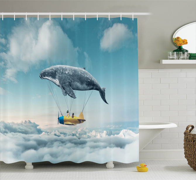 Hayaller Temalı Duş Perdesi Bulutlar Üstünde Uçma