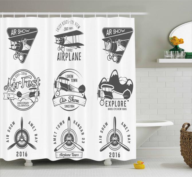 Siyah Beyaz Duş Perdesi Nostaljik Uçak Logoları