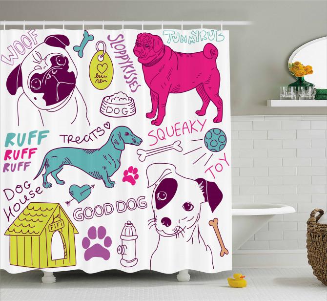 Hayvan Severlere Duş Perdesi Renkli Köpek Desenli