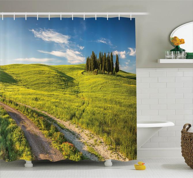 Huzurlu İtalya Manzarası Duş Perdesi Ağaçlar Yeşil