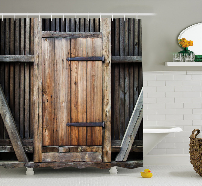 Antika Ahşap Kapı Temalı Duş Perdesi Bina Mimari