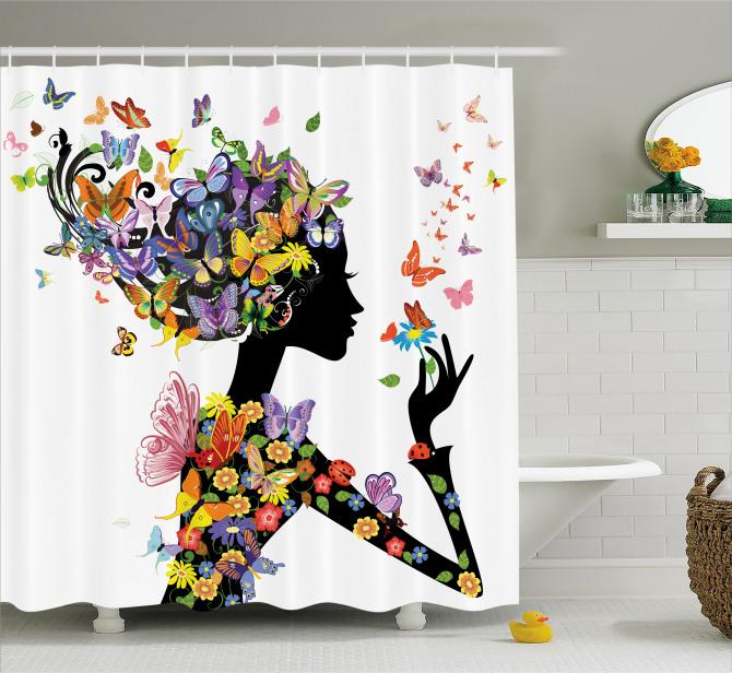Kelebekli Kız Desenli Duş Perdesi Rengarenk Trend