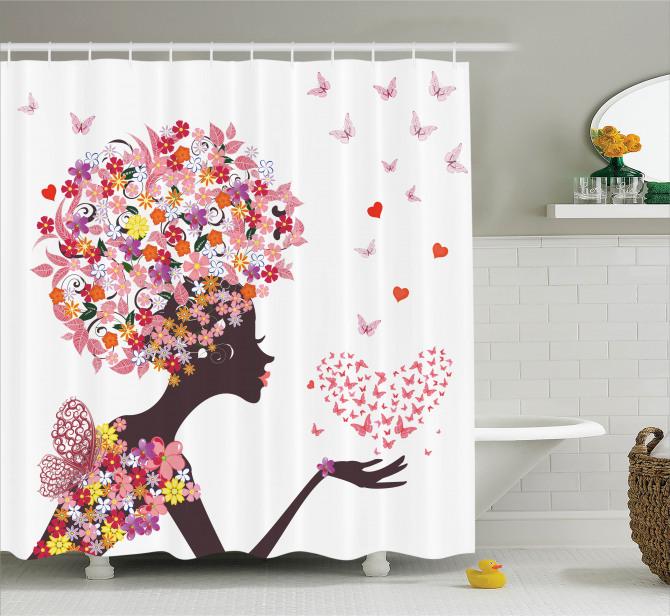 Pembe Kelebekli Kız Desenli Duş Perdesi Kalpli Trend