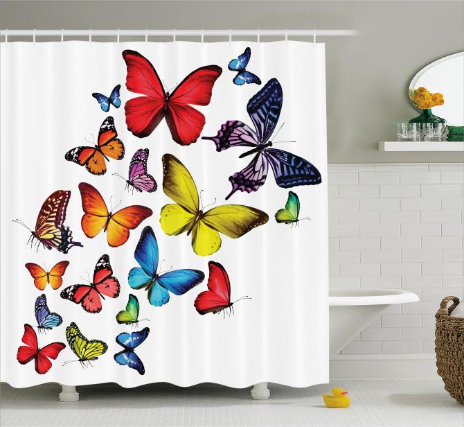 Kelebek Coşkusu Desenli Duş Perdesi Çeyizlik Trend