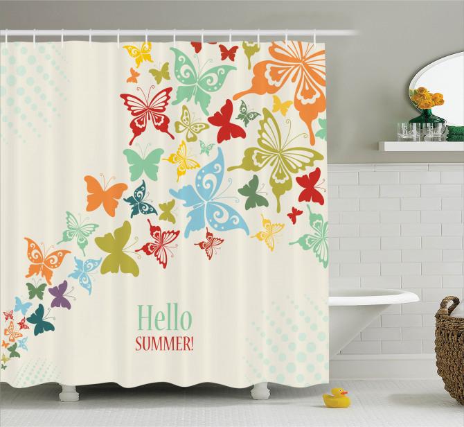 Rengarenk Kelebek Desenli Duş Perdesi Hoş Geldin Yaz