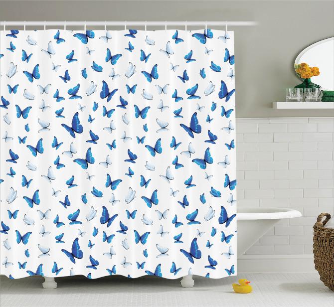 Mavi Beyaz Kelebek Desenli Duş Perdesi Beyaz Fonlu