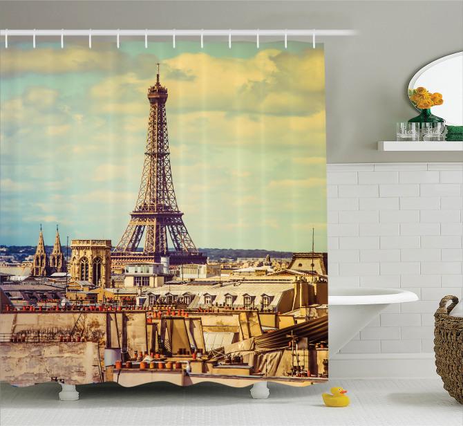 Eyfel Kulesi Manzaralı Duş Perdesi Paris Temalı Şık