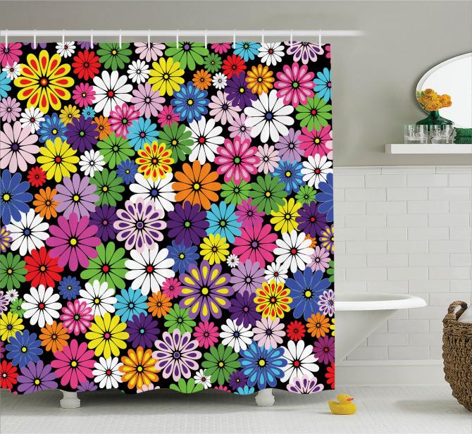Çiçek Temalı Duş Perdesi Rengarenk Çeyizlik Şık