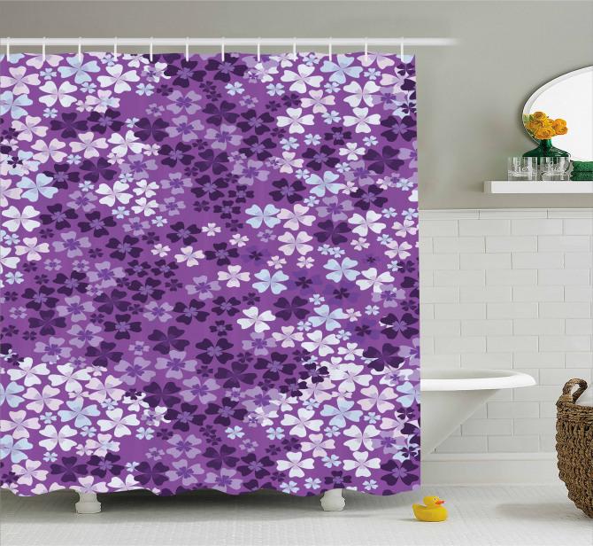 Mor Çiçek Desenli Duş Perdesi Çeyizlik Şık Tasarım