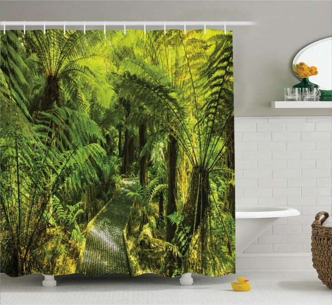 Doğa Yürüyüşü Temalı Duş Perdesi Yeşil Ağaç Orman