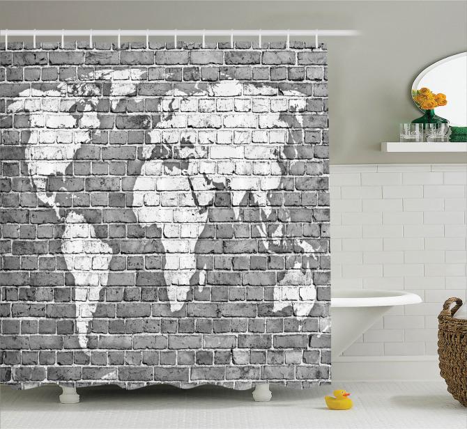 Tuğla Duvar Dünya Haritası Desenli Duş Perdesi Antik