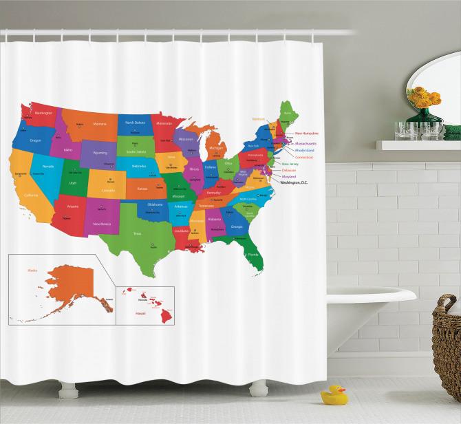 ABD Haritası Desenli Duş Perdesi Rengarenk Coğrafya