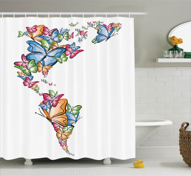 Kelebekler Atlası Desenli Duş Perdesi Rengarenk